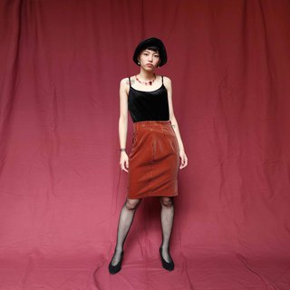Pumpkin Vintage. Ancient thousand bird pattern suede skirt