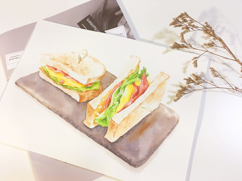 Experience activities. WUWU HSU's gourmet watercolor - Bacon Peanut Egg Roll Sandwich 05/25 South