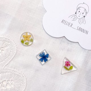 Season flower series-Flower honey ice hand made dry flower embossed ear ear clip/ear clip