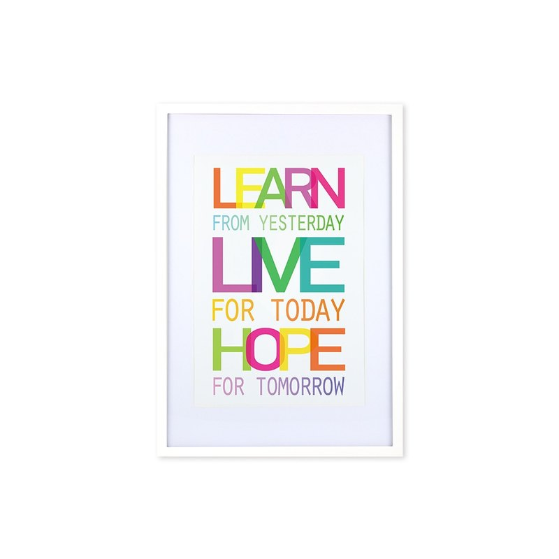 HomePlus Decorative Frame - Quote Series LearnLiveHope - White 63x43cm Homedecor