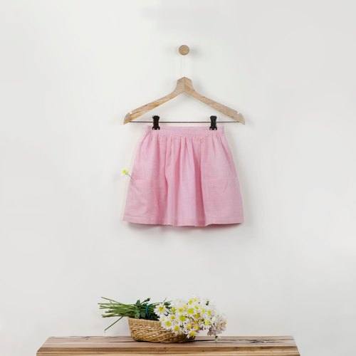 Pluie Pink Striped Skirt with Big Pockets in 100% Cotton