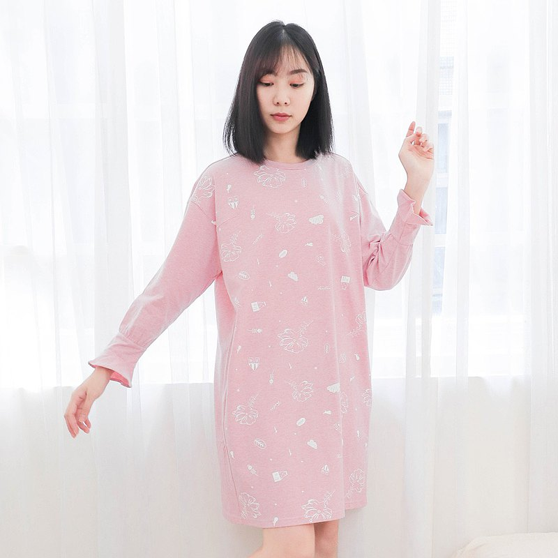 Organic cotton printed princess sleeve long-sleeved one-piece dress home wear/pajamas/home wear-hemp pollen