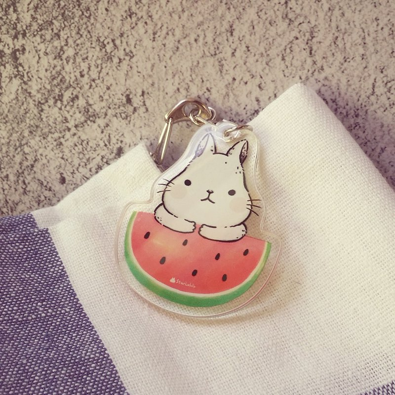 Big white rabbit love watermelon transparent jelly sense key ring D word buckle charm