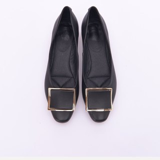 [Fashionism] leather buckle style gold and flat shoes _ classic black
