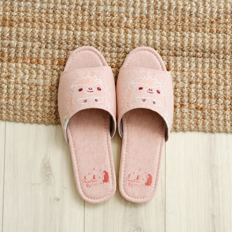 Organic cotton embroidered indoor slippers (sequins hedgehog) sequin powder / Valentine's Day gift