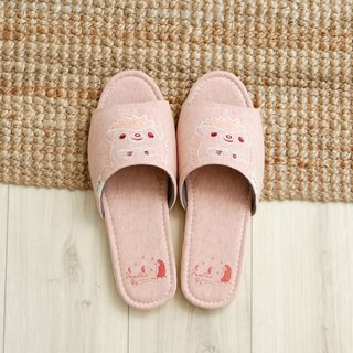 Organic cotton embroidered indoor slippers (sequins hedgehog) sequin powder