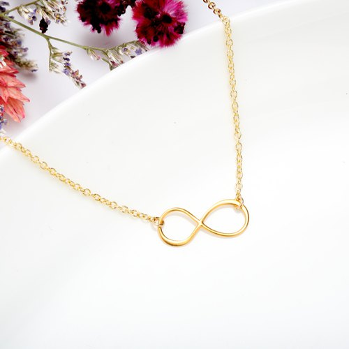 Infinity love s925 sterling silver thick 24k gold-plated necklace Valentine