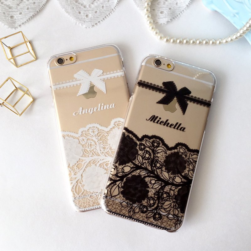 Customized Name White / Black Lace 01 phone case For iPhone and Samsung