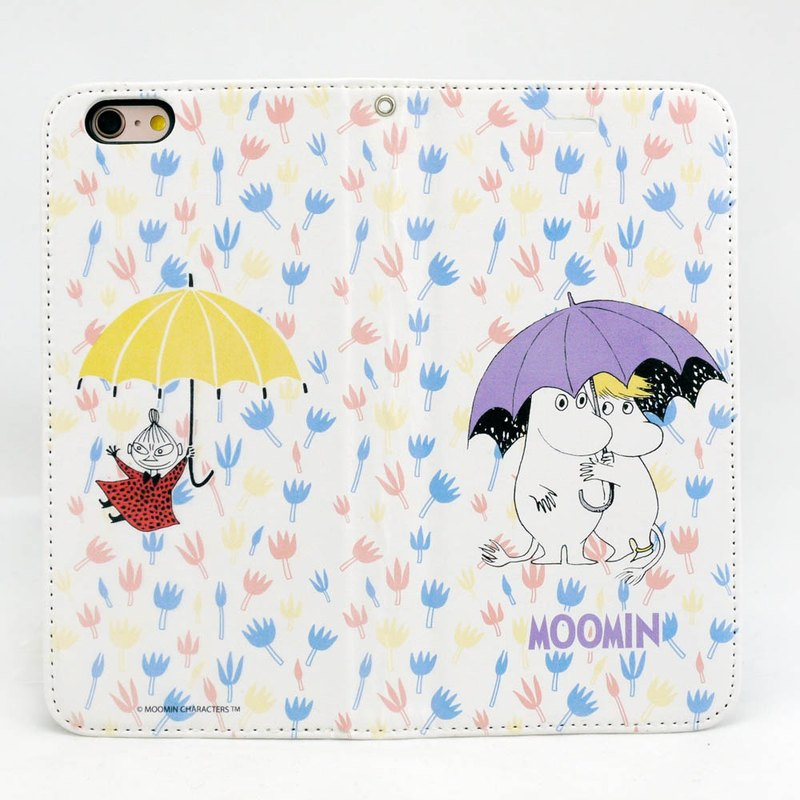 Moomin glutinous rice genuine license - magnetic mobile phone holster [under the umbrella world (white)]