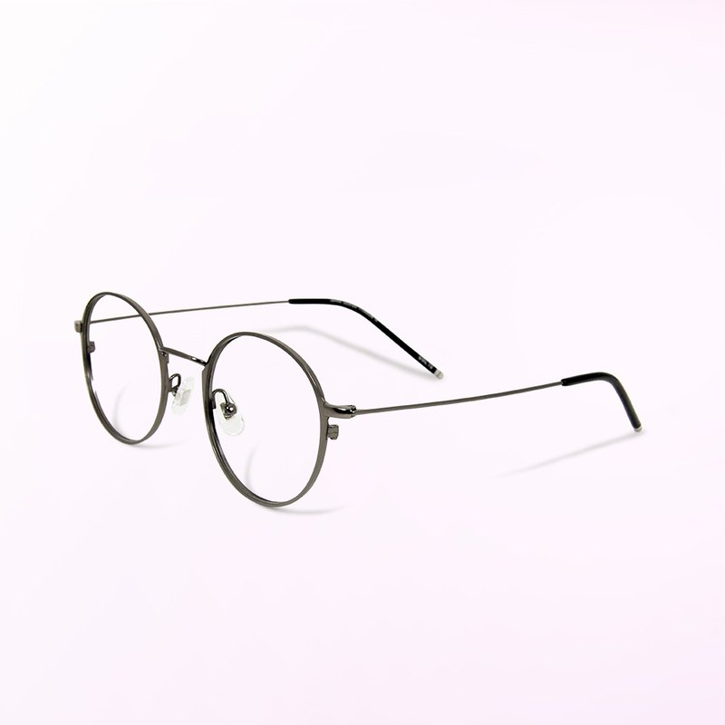 Monet's impression light shadow│Japanese design pure gray lightweight titanium metal round frame filter blue light glasses