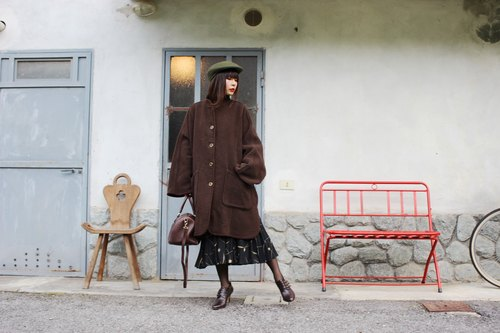 F3053 [Vintage jacket] {} Italian system in standard brown checkered cloth double-sided fine wool coat jacket big pockets (Made in Italy)