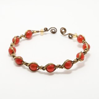 . Knit family. Carnelian woven bracelet customized adjustable red
