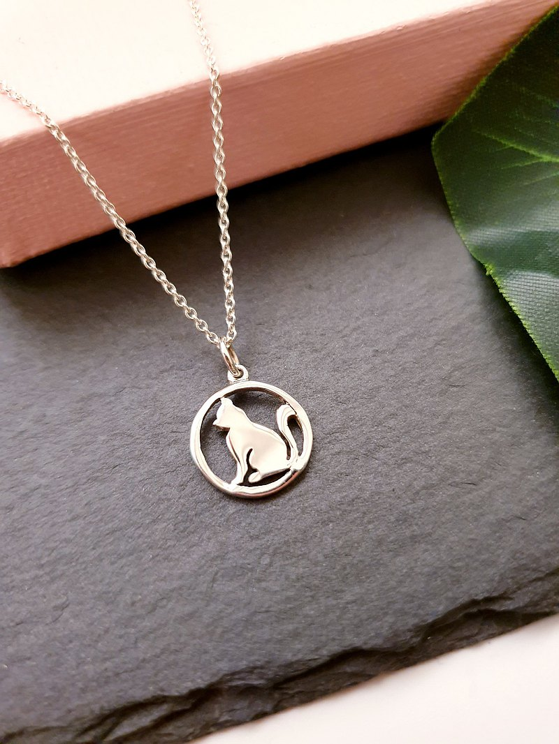 Cute Cat Circle Silver Necklace, 925 Sterling Silver, Cat Jewelry