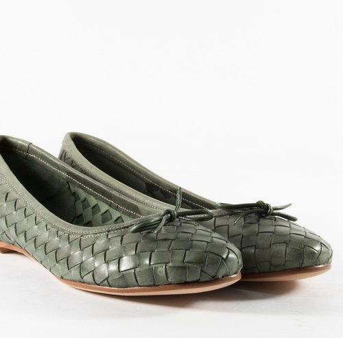 ITA BOTTEGA[Made in Italy] Italian Leather Dark Green Woven Flat Boots
