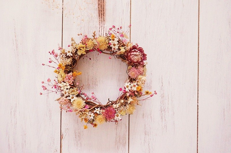 """Amoy Floral"" Forest Mango Dry Flower Small Wreath & Candle Holder C / Bride Bridesmaid Little Flower Child Dry Flower Wedding Small Things Bride Breath Flower Wreath Out props Wedding Photo Props"