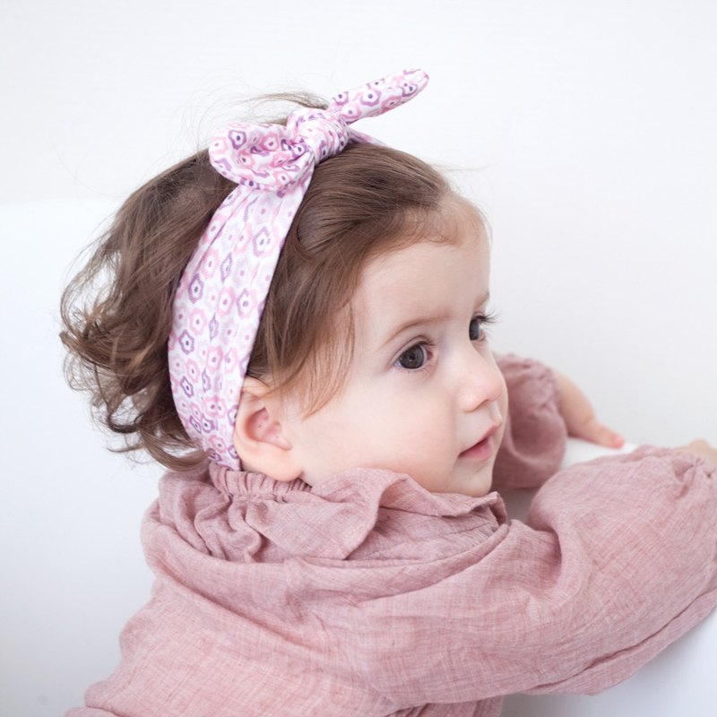 American Joli Sophie Bow Hair Band 2 into the group - pink purple flower JSHBBBPF0