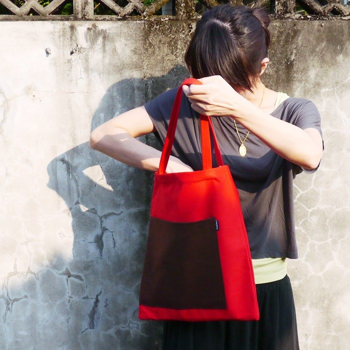 WaWu Eco Bag (red-coffee)/ canvas bag / Canvas tote bag / School bag