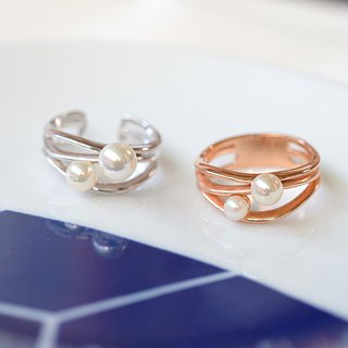 Minimalist Haibo streamline pearl ring 925 sterling silver rose gold silver white two color optional customization ring
