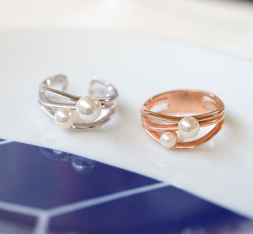 Minimalist Happo pearl ring 925 sterling silver ornaments