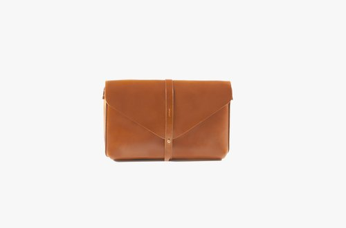 Envelop Clutch / Brown / Leather / Clutch / Cross bodies