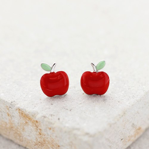 Apple Earrings in 925 Sterling Silver - Red