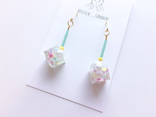 Colorful Fruit Candy Box Series - pearl candy box drape handmade earrings ear hook / ear clip