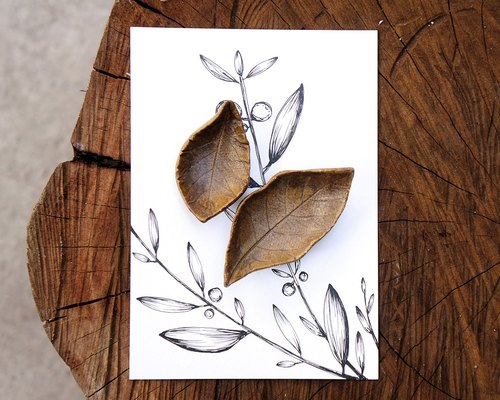 No.04 leaf dish chopsticks holder painted postcard gift set