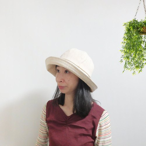 Striped actress hat with a wide collar Wide [striped capeperine PS 0644 - BG]
