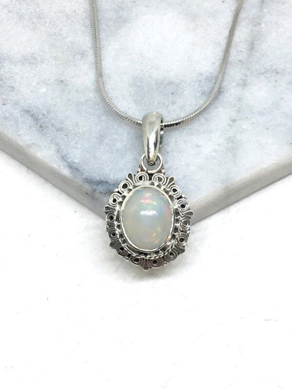 Opal 925 sterling silver exotic style necklace Nepal handmade mosaic production