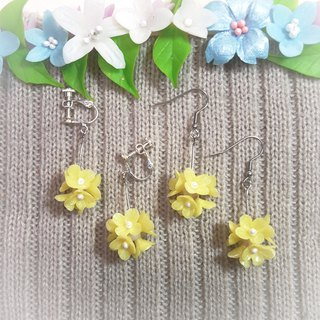 Yellow floral ball earrings / ear hook / ear clip