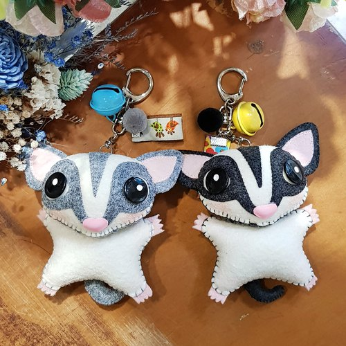 [Cats cat x City Cats] honey bag 鼯 (light gray / black and gray) hand-stitched custom handmade name puppet pendant / key ring graduation gift birthday gift