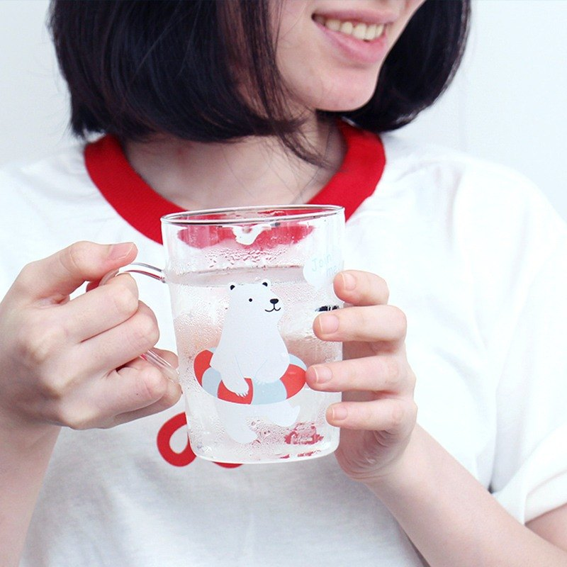U-PICK original product life high heat-resistant borosilicate glass flower cup cute polar bears, penguins
