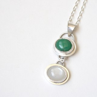 Green Chalcedony and White Moonstone Sterling Silver Chest Chrysoprase & white moonstone