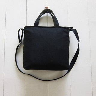 For She / he A4 Canvas Tote - Medium size (Zipper Closure W / Adjusted Strap) Black + Olive
