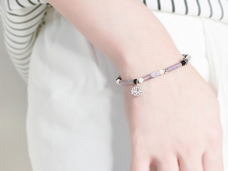 Purple Fragrance Natural Stone Beaded Silver Bracelet - Pink Purple - 玥unicorn-925 Silver