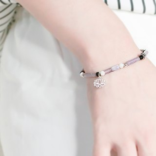 Purple Scented Natural Stone Beaded Silver Bracelet - Pink Purple - 玥unicorn-925 Silver Tibetan Silver