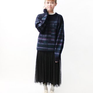 [RE1222SW069] Nippon blue and purple geometric vintage sweater knitted wool loose
