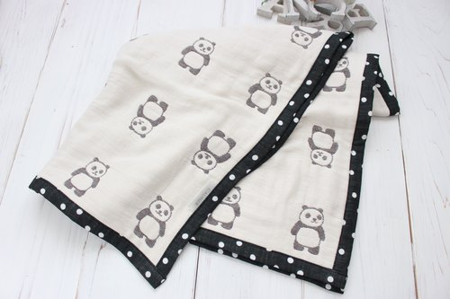 Monotone ◆ Panda's Gauzeket (sweats and shiny) white black monotone panda swaddle