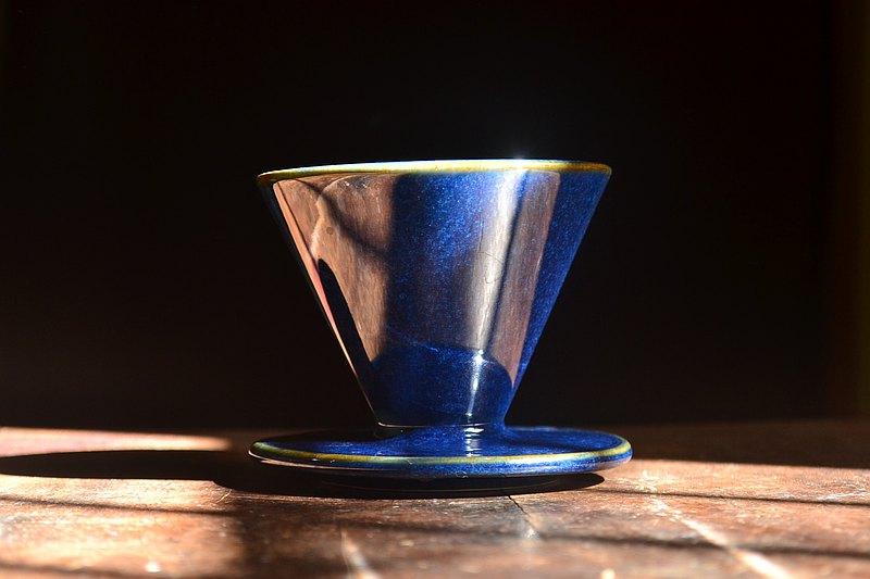 客噐客氣 湛放藍錐形六肋01款濾杯