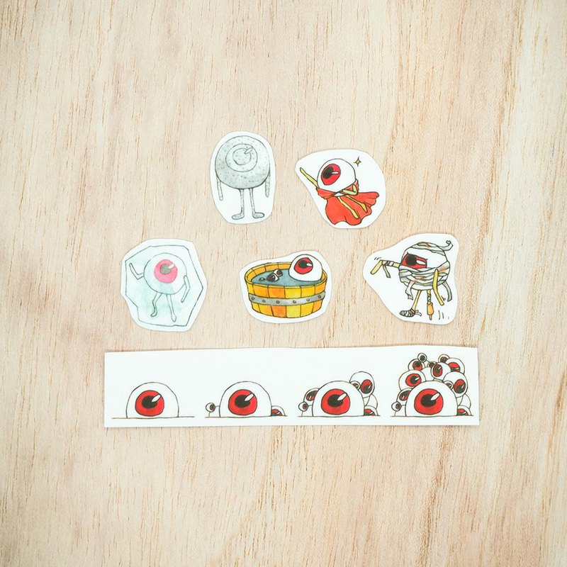 [Clearing sticker - Mr. Mesh] - Watercolor / KUSO / eyeball / eye / funny