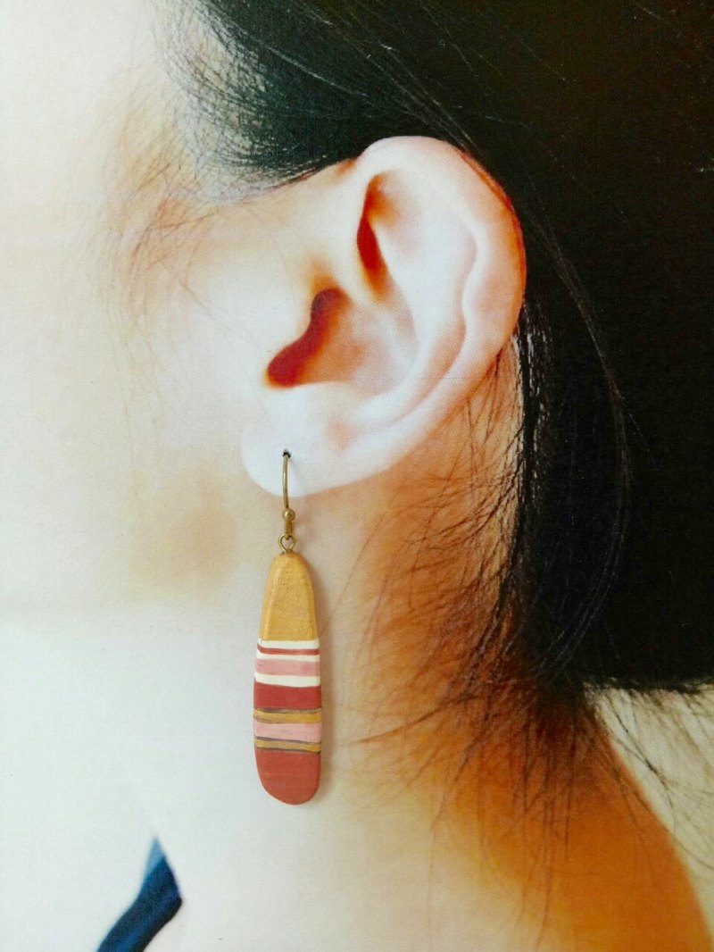 Handmade red gold striped perfume essential oil extended ceramic earrings