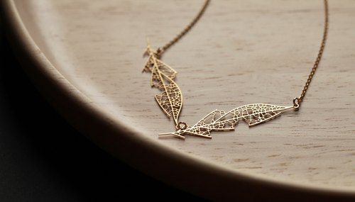 金葉脈項鍊D Skeleton Leaf Pendant D (Gold)