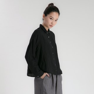 BUFU  long -sleeves linen loose shirt in black  SH170219