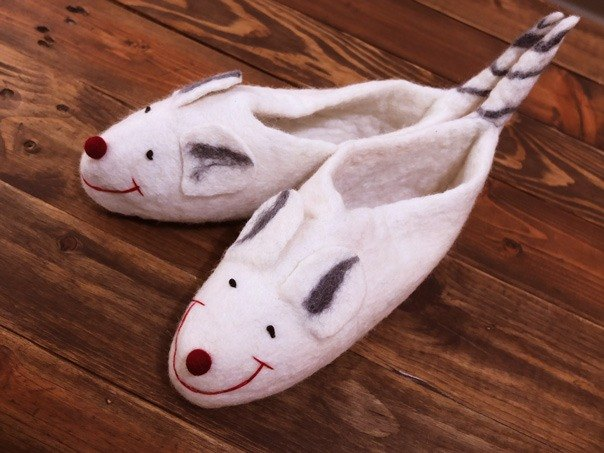 【Grooving the beats】Felt Tiger Sippers / Animal Slippers / Felted Shoes / Wool Slippers / House Shoes / Indoor shoes(Mouse)