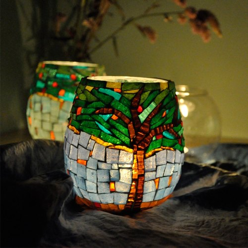 Falling flowers ·autumn/  Handmade mosaic candlestick/ Home decoration
