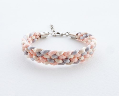 Peach/cream/gray Braided bracelet