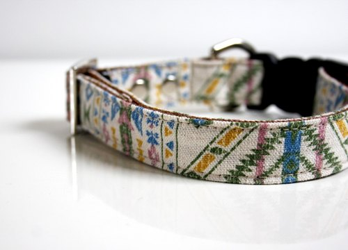 BOHO bohemian earth Cotton Linen Dog Collar - beige, green, sky blue Size Small