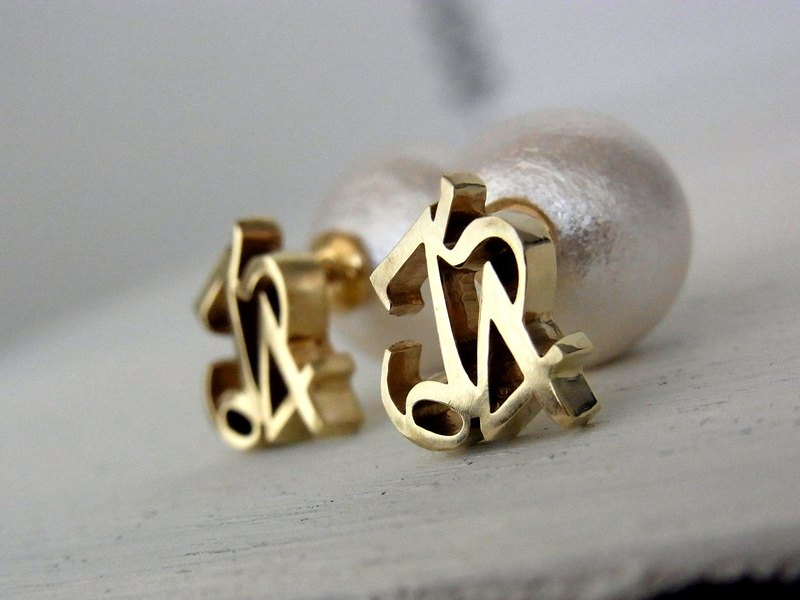 4 number cotton pearl 2WAY earrings / brass