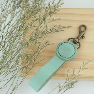 Leather Wen Qing green key ring macaron green type travel
