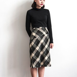 Vintage color point oblique lattice vintage wool skirt